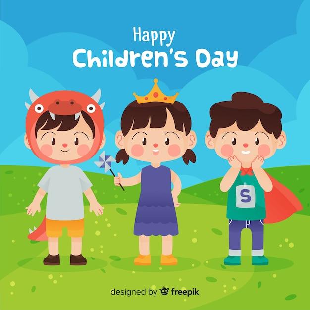 Concepto del día del niño en diseño plano vector gratuito
