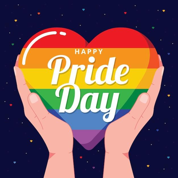 Concepto del día del orgullo con corazón Vector Premium