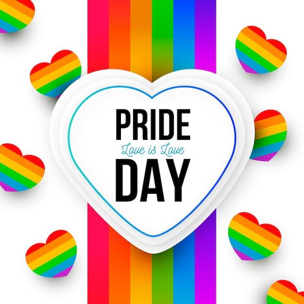 Concepto del día del orgullo corazones del arco iris vector gratuito
