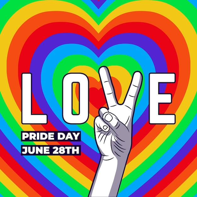 Concepto del día del orgullo con corazones y signo de la paz vector gratuito