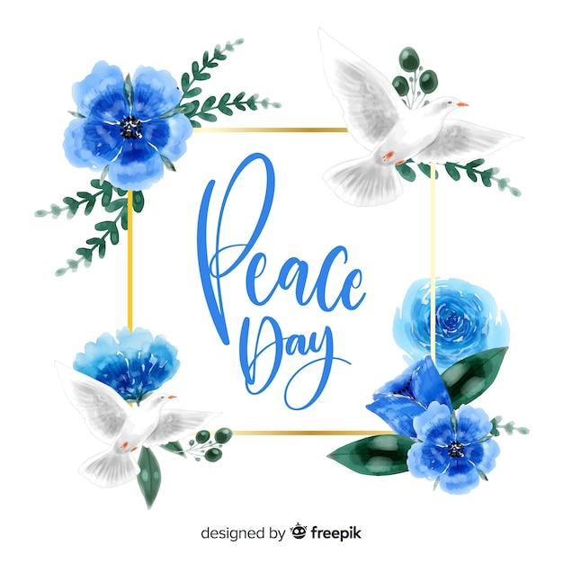 Concepto del día de la paz con letras vector gratuito