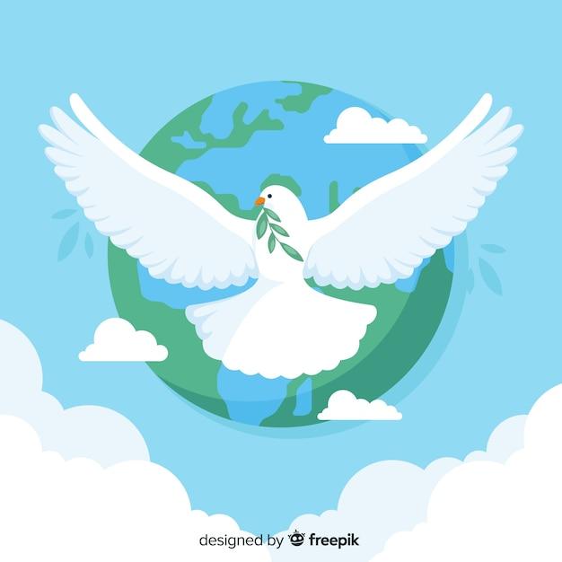Concepto de día de paz con una paloma vector gratuito