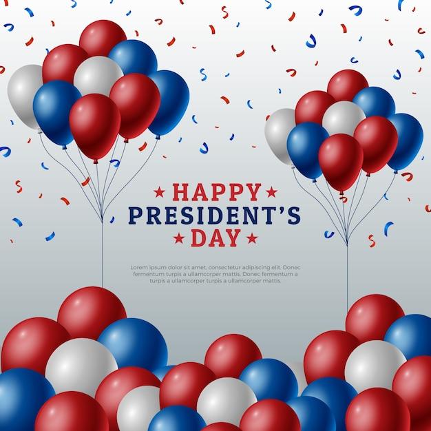 Concepto del día de los presidentes con globos realistas vector gratuito