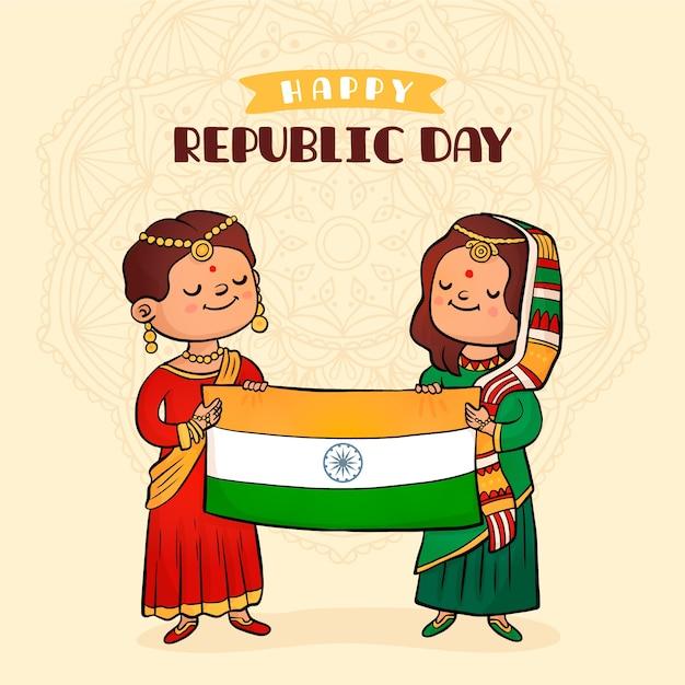 Concepto de día de la república india dibujado a mano vector gratuito