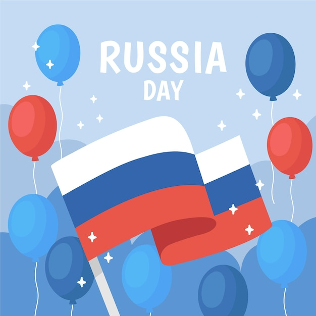 Concepto de día de rusia dibujado a mano vector gratuito