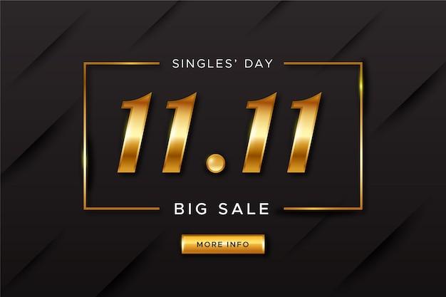 Concepto del día de los solteros dorados vector gratuito
