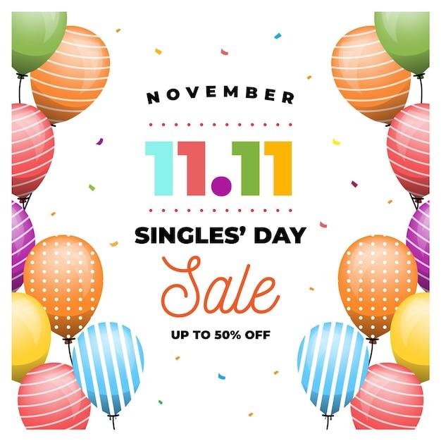Concepto de día de solteros de globos de colores vector gratuito