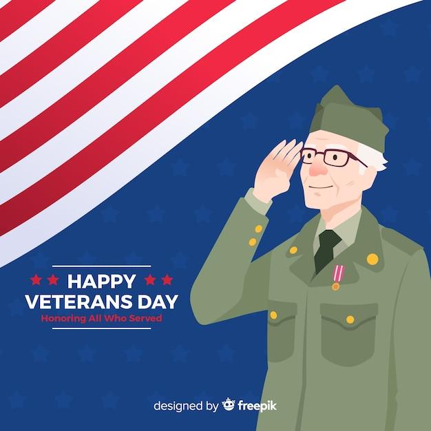 Concepto del día de los veteranos en diseño plano vector gratuito