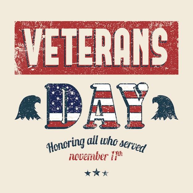 Concepto de día de veteranos de letras vintage vector gratuito