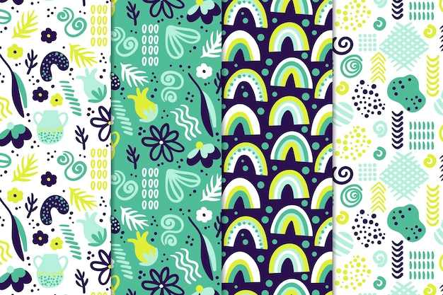 Concepto de dibujo de colección de patrones abstractos vector gratuito