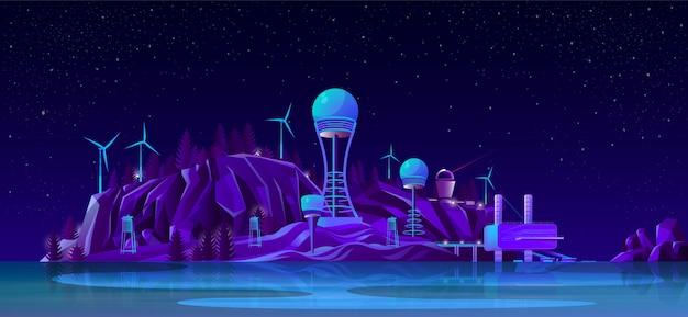 Concepto de dibujos animados futuras plantas de energía vector gratuito