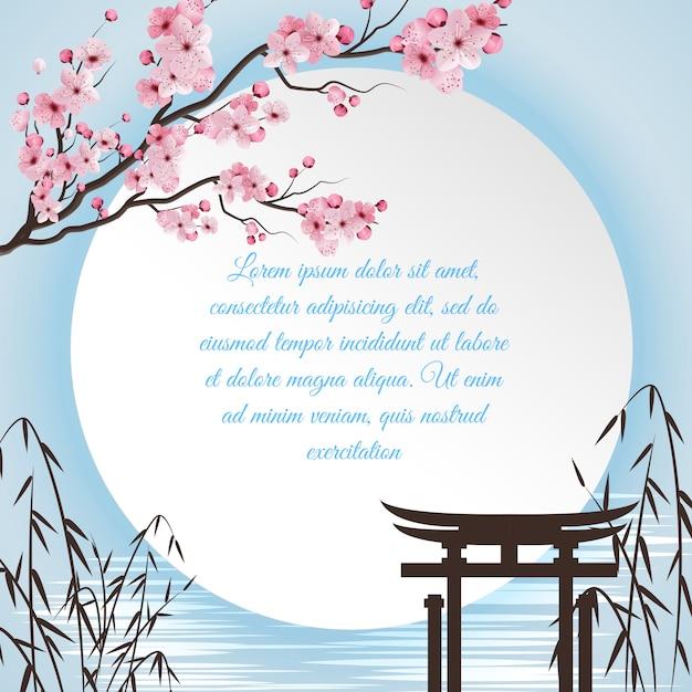 Concepto de dibujos animados de sakura con motivos japoneses y círculo blanco con lugar para poema vector gratuito