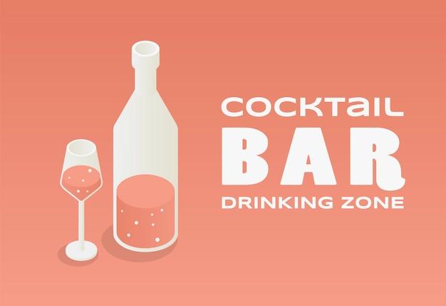 Concepto de diseño de barra de cóctel. ilustración de la botella de vino y copa de vino con espacio de texto. Vector Premium