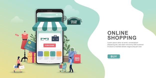Concepto de diseño de compras en línea con personas y móviles. aplicación de compras en línea: regalos, artículos de compras, tarjetas de crédito. Vector Premium