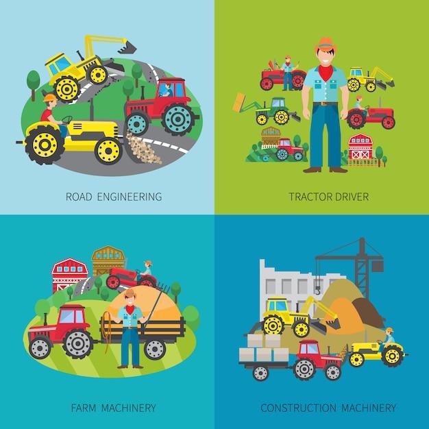 El concepto de diseño del conductor del tractor fijó con los iconos planos de la maquinaria de la construcción y de la maquinaria de la construcción del camino aislaron el ejemplo del vector vector gratuito