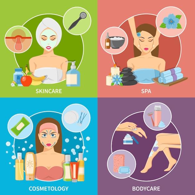 Concepto de diseño de cosmetología de piel y cuerpo vector gratuito