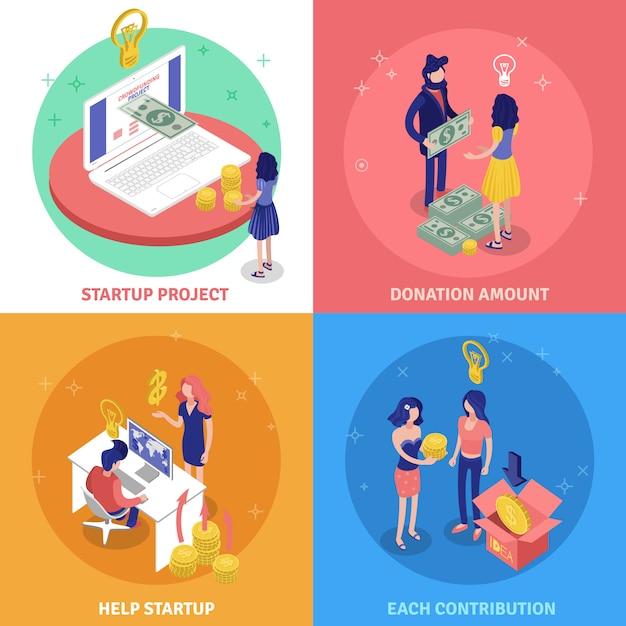 Concepto de diseño de crowdfunding vector gratuito