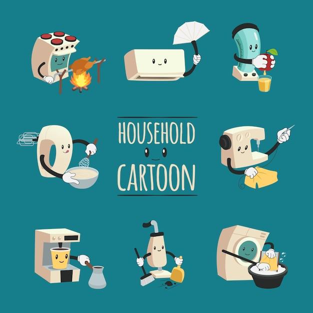 Concepto de diseño de dibujos animados electrodomésticos vector gratuito