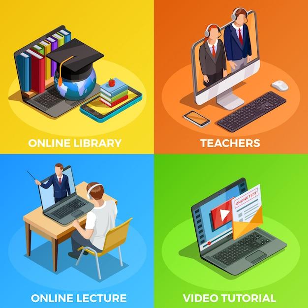Concepto de diseño de educación a distancia vector gratuito