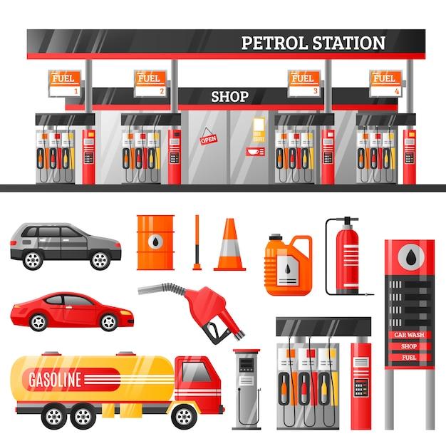 Concepto de diseño de la estación de gasolina vector gratuito