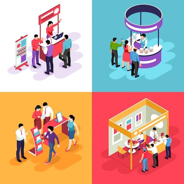 Concepto de diseño de exposición isométrica con s de stands de exhibición y personajes de personas que miran en los stands de exhibición vector gratuito