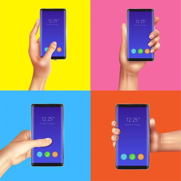 Concepto de diseño de gadgets realistas con manos sosteniendo ilustración aislada de teléfonos inteligentes negros vector gratuito