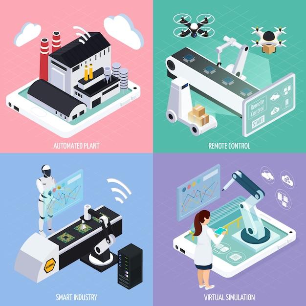 Concepto de diseño industrial inteligente vector gratuito