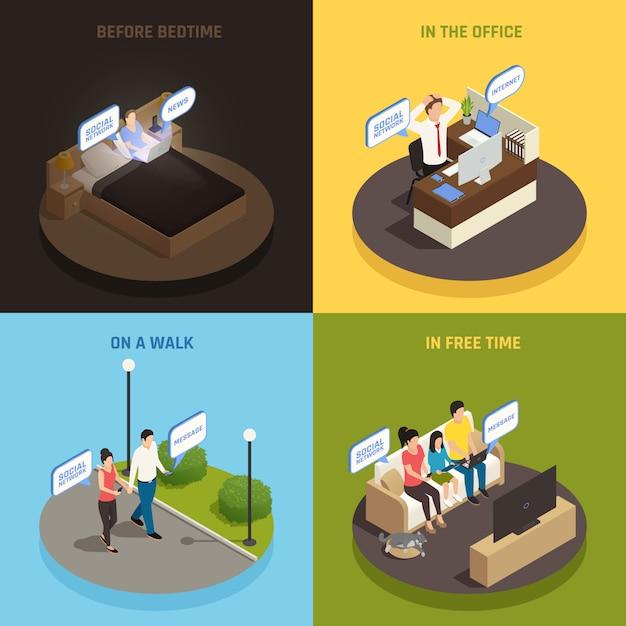 Concepto de diseño isométrico de adicción a gadgets de teléfonos inteligentes de internet con personajes de personas y dispositivos en diversas situaciones ilustración vectorial vector gratuito