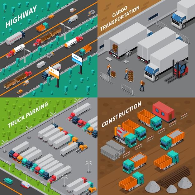 Concepto de diseño isométrico de camiones vector gratuito