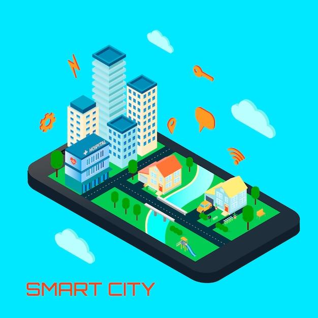 Concepto de diseño isométrico de la ciudad inteligente vector gratuito