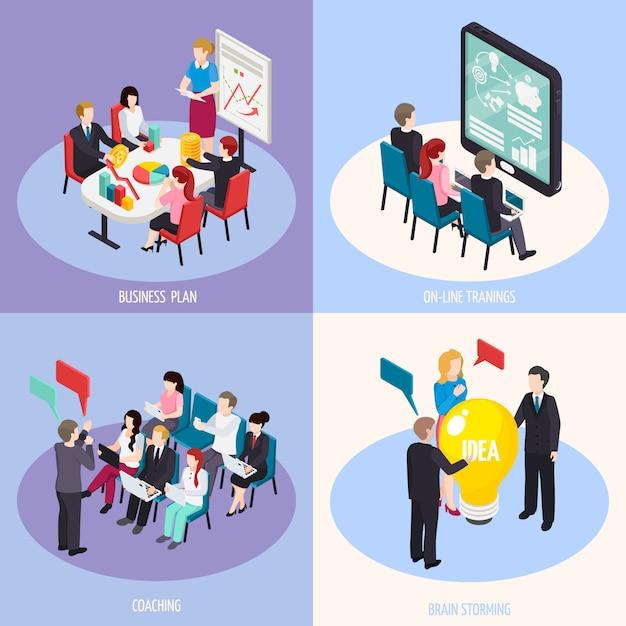 Concepto de diseño isométrico de coaching empresarial vector gratuito