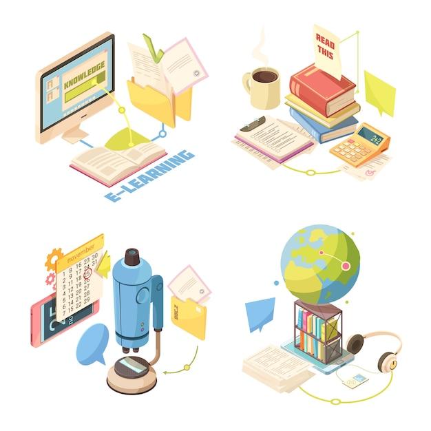 Concepto de diseño isométrico de e-learning vector gratuito