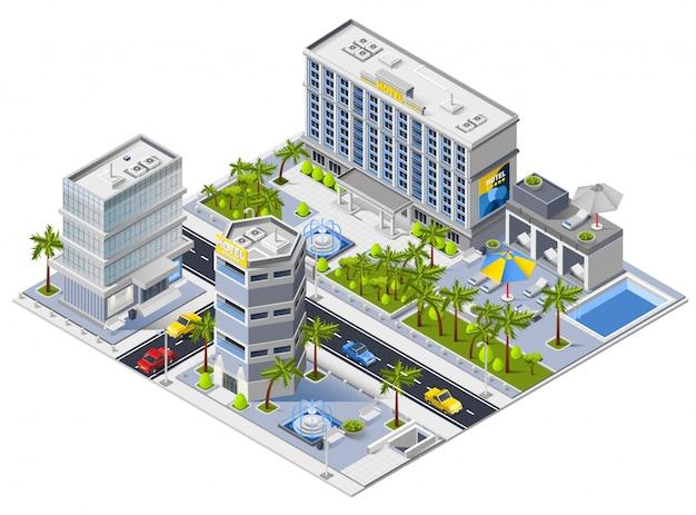 Concepto de diseño isométrico de edificios de hotel de lujo vector gratuito