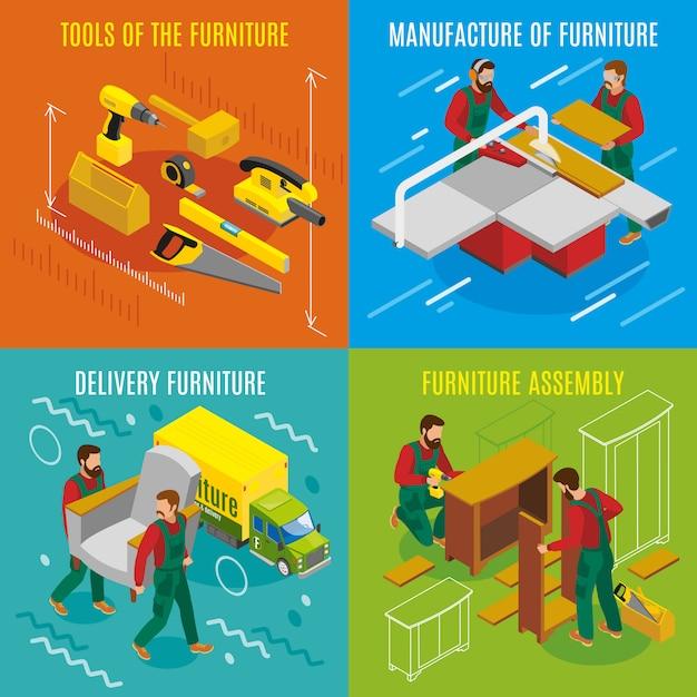 Concepto de diseño isométrico de fabricantes de muebles vector gratuito