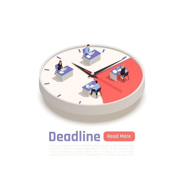 Concepto de diseño isométrico de fecha límite con un equipo de empleados sentados en sus escritorios en un gran reloj redondo vector gratuito