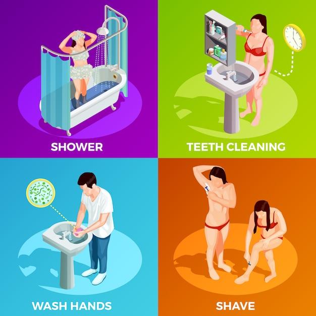 Concepto de diseño isométrico de higiene vector gratuito