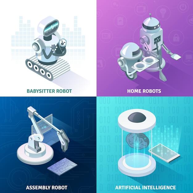 Concepto de diseño isométrico de inteligencia artificial vector gratuito