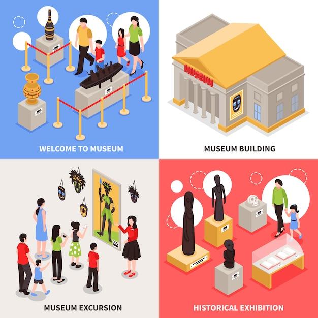 Concepto de diseño isométrico del museo vector gratuito