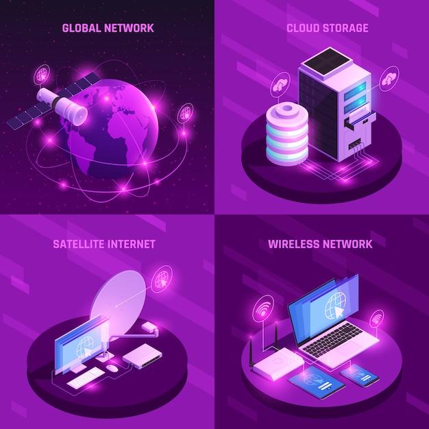 Concepto de diseño isométrico de red global con enrutador de internet satelital de almacenamiento en la nube y conexión inalámbrica aislada vector gratuito