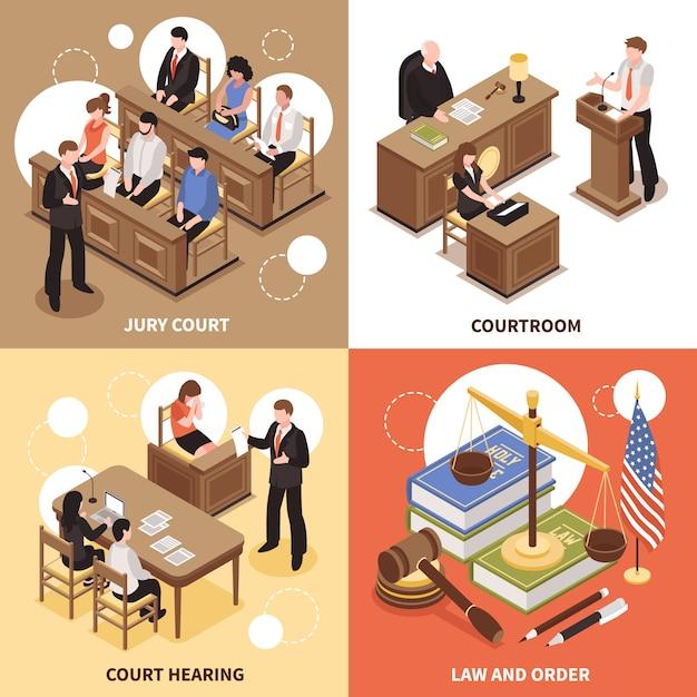 Concepto de diseño de ley y orden 2x2 vector gratuito