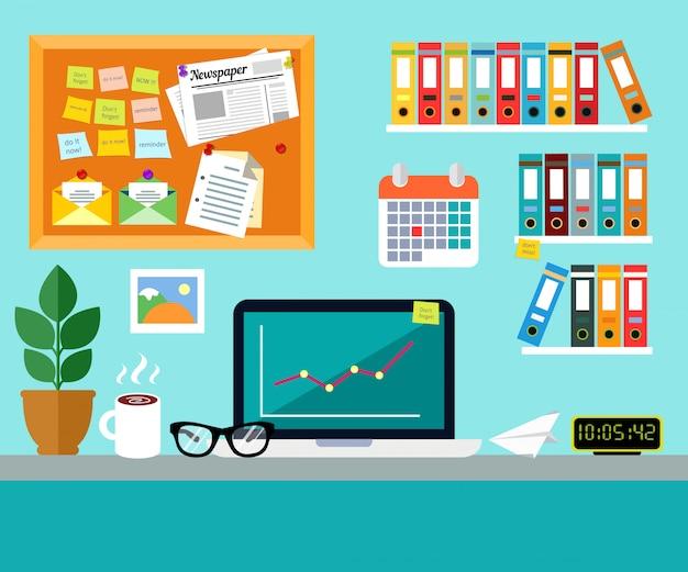 Concepto de diseño de lugar de trabajo de oficina vector gratuito