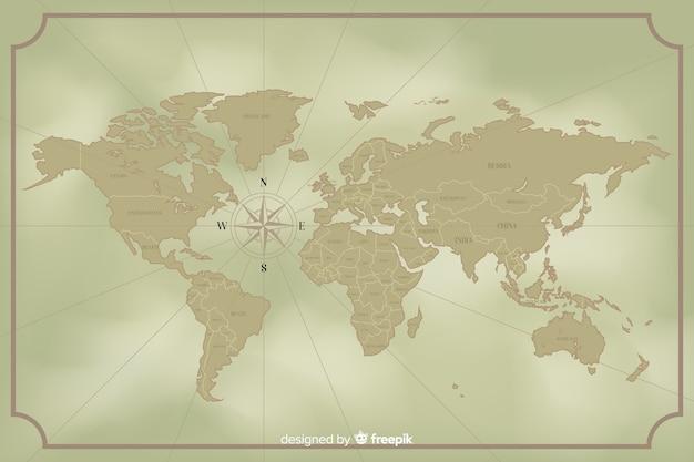 Concepto de diseño de mapa mundial vintage vector gratuito