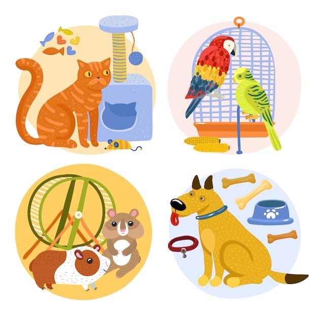 Concepto de diseño de mascotas vector gratuito