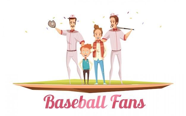Concepto de diseño masculino de los fanáticos del béisbol con dos hombres adultos y dos niños en el campo de béisbol con ilustración de vector de dibujos animados plano de equipo de deporte vector gratuito