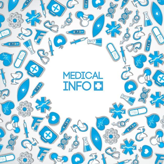 Concepto de diseño de medicina saludable con inscripción e iconos y elementos de papel azul médico en luz vector gratuito