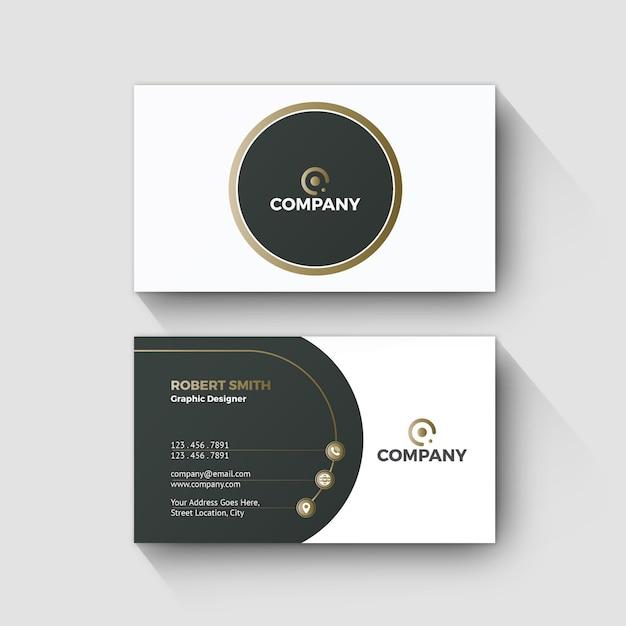 Concepto de diseño moderno de la onda de oro de la tarjeta de visita Vector Premium