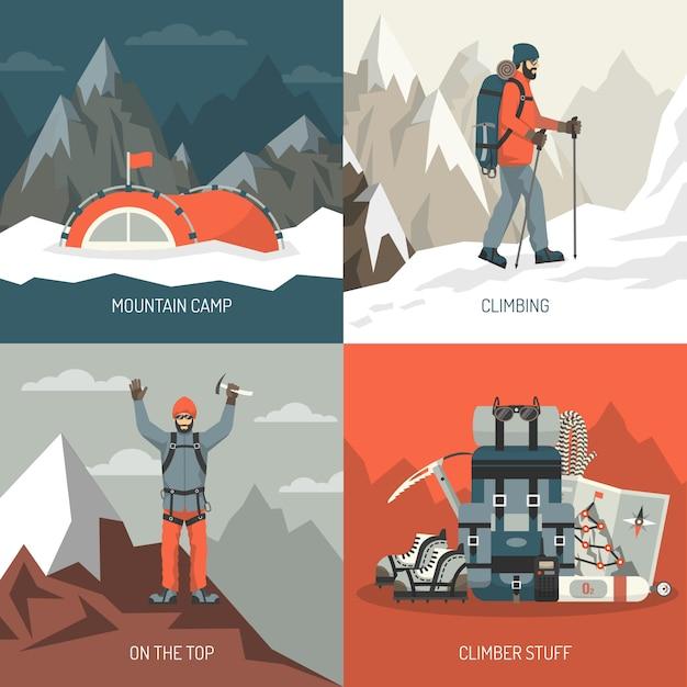 Concepto de diseño de montañismo vector gratuito