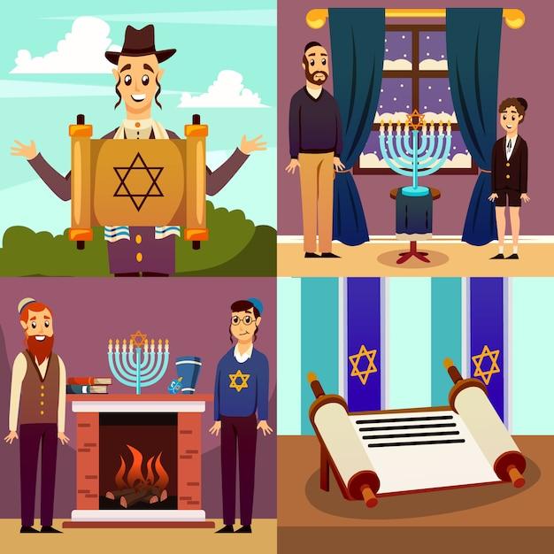 Concepto de diseño de la nación judía vector gratuito