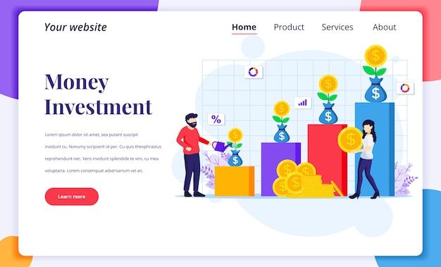 Concepto de diseño de página de destino de inversión, personas que riegan el árbol del dinero, recolectan monedas, aumentan el beneficio de la inversión financiera Vector Premium