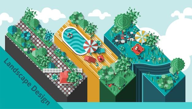 Concepto de diseño de paisaje vector gratuito